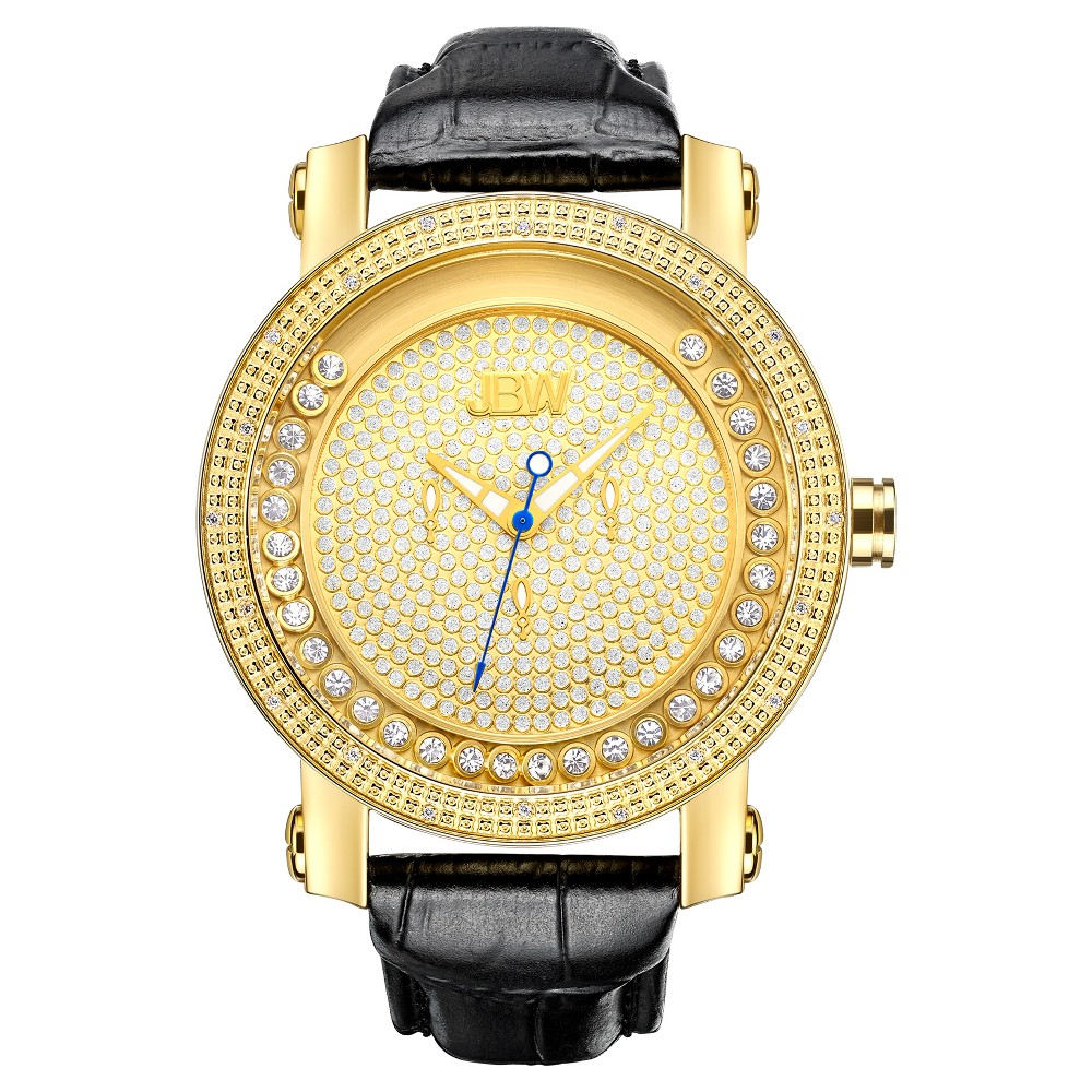 Image of Men's JBW JB-6211L-A Hendrix Japanese Movement Genuine Leather Real Diamond Watch - Gold, Men's, Size: Small, Black