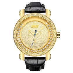 Men's JBW JB-6211L-A Hendrix Japanese Movement Genuine Leather Real Diamond Watch - Gold