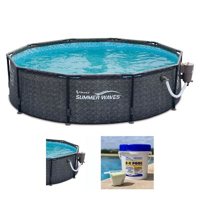 Summer Waves P20010301 Active 10ft x 30in Outdoor Round Frame Above Ground Swimming Pool Set with 120V Filter Pump & Solution Blend, Gray Wicker