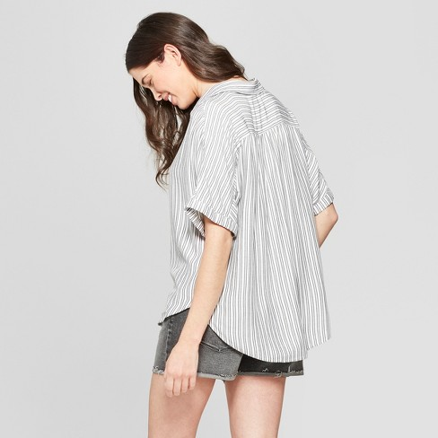 321f5ff4d76d7 Women s Striped Short Sleeve Collared Camp Shirt - Universal Thread™ Black  White   Target