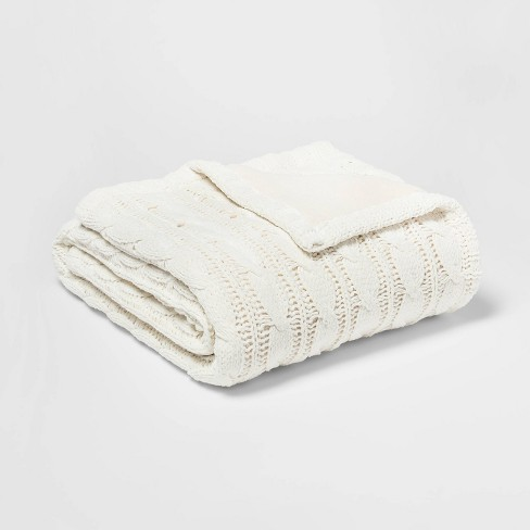 Solid Cable Knit Chenille with Sherpa Reverse Throw Blanket Cream - Threshold™ - image 1 of 3
