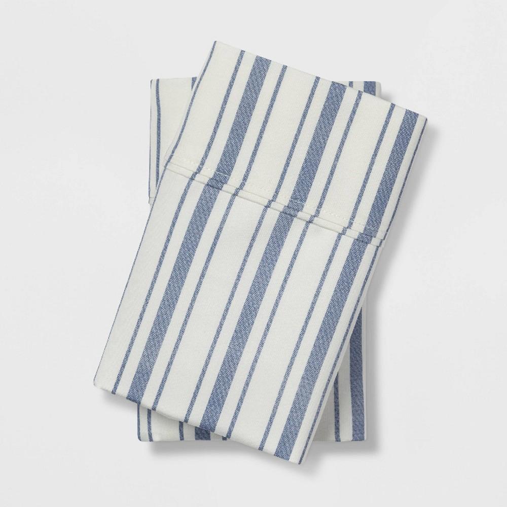 King 400 Thread Count Striped Performance Pillowcase Set Blue/White - Threshold