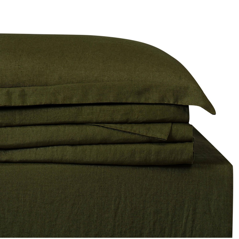 Image of California King 300 Thread Count Linen Solid Sheet Set Olive - Brooklyn Loom, Green
