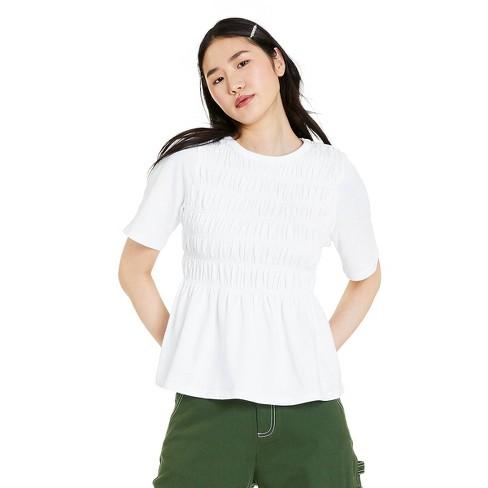 Women's Short Sleeve Smocked T-Shirt - Sandy Liang x Target White - image 1 of 4