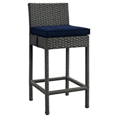 Sojourn Outdoor Patio Wicker Sunbrella® Bar Stool in Canvas Navy - Modway