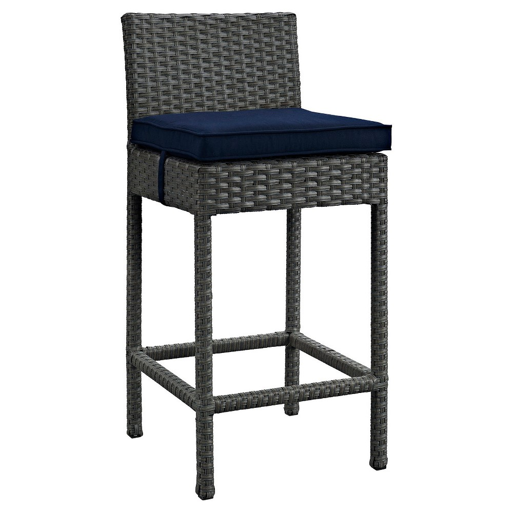 Sojourn Outdoor Patio Wicker Sunbrella Bar Stool in Canvas Navy (Blue) - Modway