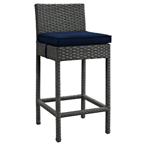 Sojourn Outdoor Patio Wicker Sunbrella® Bar Stool in Canvas Navy - Modway - image 1 of 1