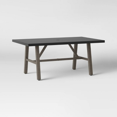Faux Wood 6 Person Rectangle Patio Dining Table with Faux Concrete Tabletop - Smith & Hawken™