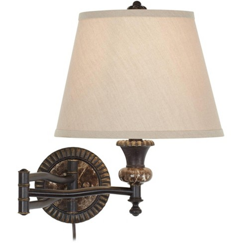 Barnes And Ivy Swing Arm Wall Lamp Bronze Faux Marble Plug-In Light Fixture Linen Polyester Blend Shade Bedroom Bedside Reading - image 1 of 4