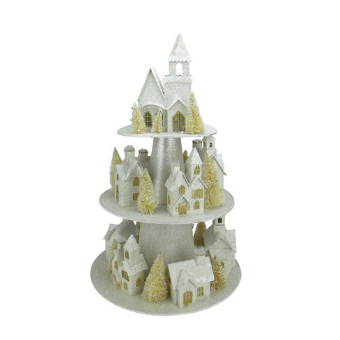 Christmas Houses.Raz Imports 25 Lighted Champagne Gold 3 Tier Christmas House Display