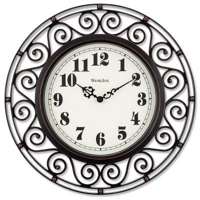 "12"" Wrought Iron Style Round Wall Clock Black/Bronze-Westclox"