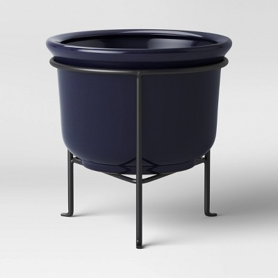 "8"" Ceramic Planter with Stand Blue - Threshold™"