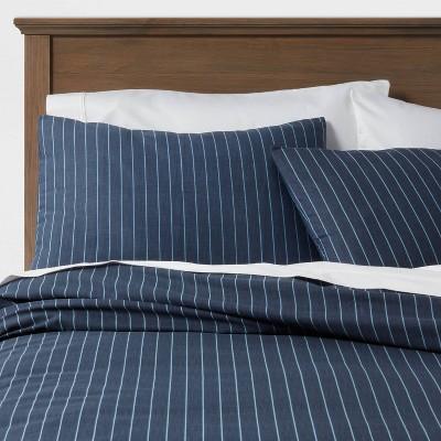 Family Friendly Stripe Duvet Cover & Pillow Sham Set Navy - Threshold™