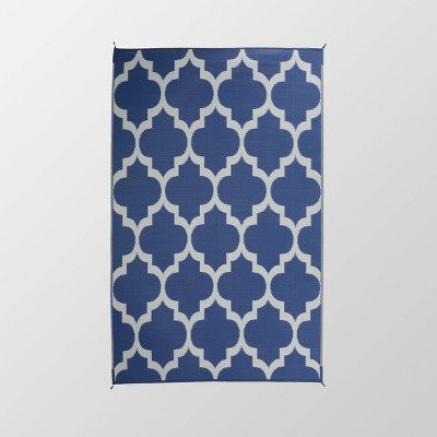 6'x9' Arundel Outdoor Modern Scatter Rug Night Blue/White - Christopher Knight Home