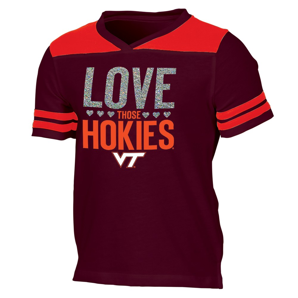 Virginia Tech Hokies Girls' Short Sleeve Team Love V-Neck T-Shirt XS, Multicolored