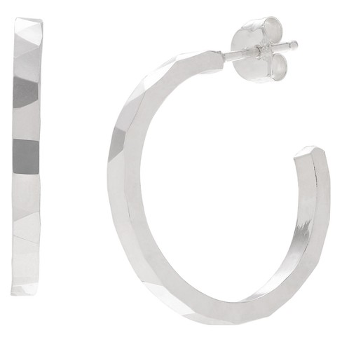 Women's Journee Collection Faceted Hoop Earrings in Sterling Silver - Silver - image 1 of 2