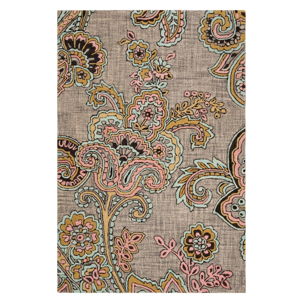4'X6' Paisley Tufted Area Rug Gray/Gold - Safavieh