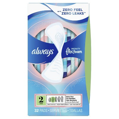 Always Infinity FlexFoam Pads Without Wings - Super Absorbency - Unscented - Size 2 - 32ct : Target