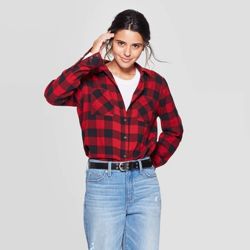 Women's Plaid Long Sleeve Button-Down Flannel Top - Universal Thread™ Red - image 1 of 3