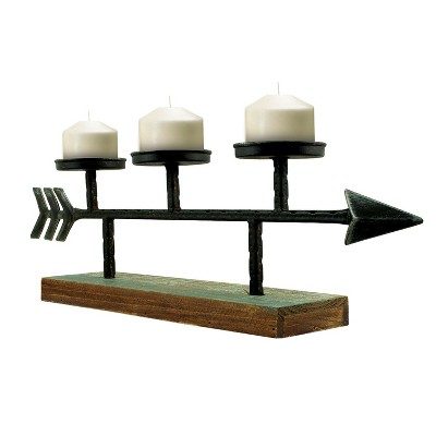 "Metal Arrow Wood Candle Holder Candelabra Bronze 24.8"" - E2"
