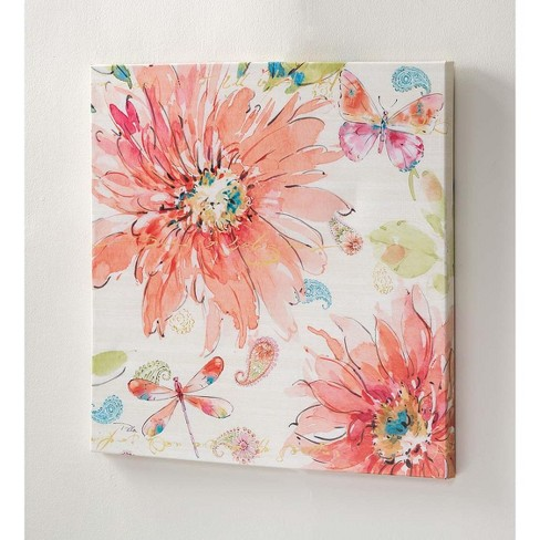 07fcb2af4d6 Floral Watercolor Style Wall Canvas Art - Use Indoors Or Outdoors - Plow    Hearth   Target