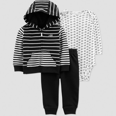 Baby Boys' 3pc Stripe Construction Long Sleeve Cotton Cardigan Set - Just One You® made by carter's Black/White Newborn
