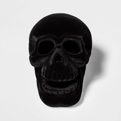 Black Resin Flocked Skull Halloween Decoration Small - Hyde & EEK! Boutique™