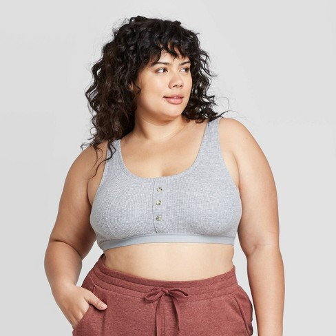 Women's Plus Size Thermal Henley Bralette - Colsie™ - image 1 of 3