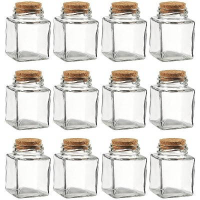 Juvale 12x Clear Transparent Small Square Glass Bottle Jar with Cork Lid Stopper 100 ML
