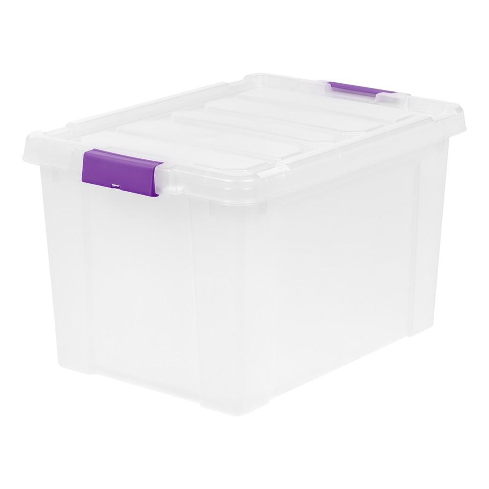 Iris 19 Gal. Heavy Duty Plastic Storage Bin - 2pk, Purple Buckles