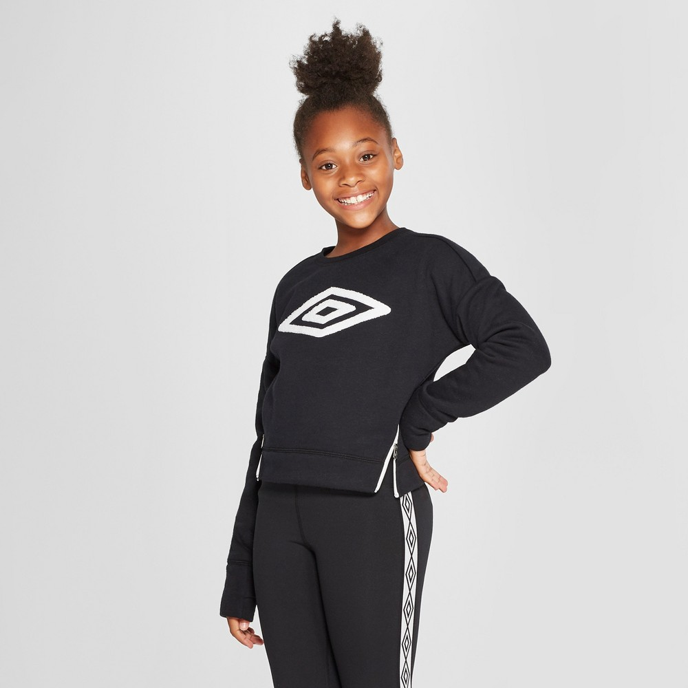 Umbro Girls' Side Zip Fleece Pullover - Black S