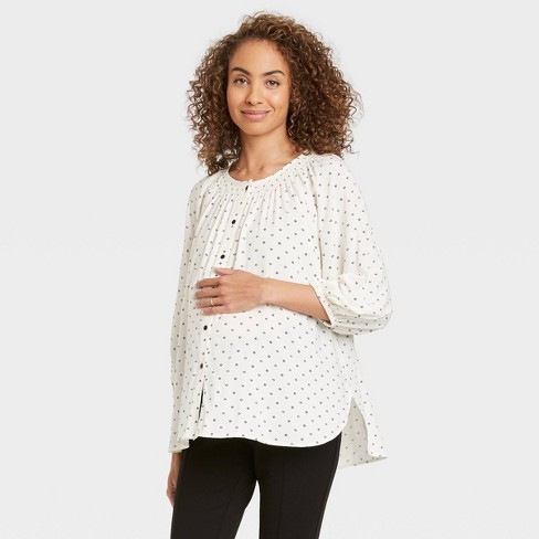 The Nines by HATCH™ Maternity Floral Print 3/4 Sleeve Smocked Button-Front Blouse Ivory - image 1 of 3