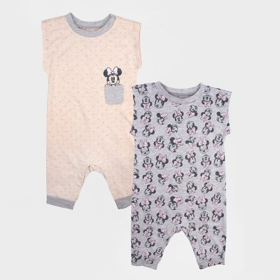 Baby Girls' 2pk Disney Mickey Mouse & Friends Minnie Mouse Sleeveless Romper Set - Gray/White Newborn