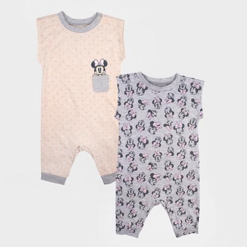 f096d43296b7 Baby Girls  2pk Disney Mickey Mouse   Friends Minnie Mouse Sleeveless Romper  Set - Gray White