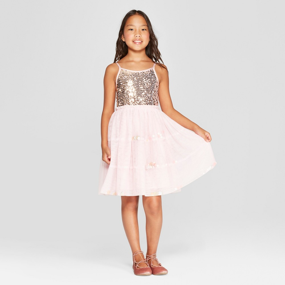 Girls' Sequin Dress - Cat & Jack Blush XS