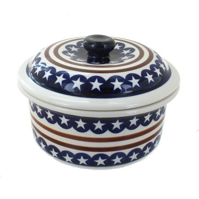 Blue Rose Polish Pottery Stars & Stripes Round Baker with Lid