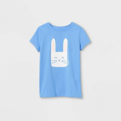 Girls' Bunny Graphic Short Sleeve T-Shirt - Cat & Jack™ Sky Blue