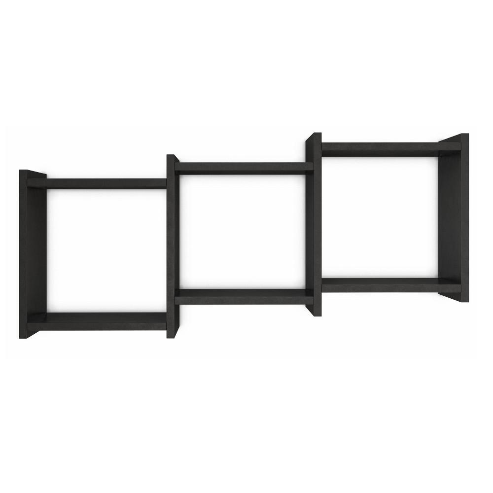 "Image of ""35.5"""" x 16.3"""" Connected Three Cube Wall Shelf Black - Danya B."""