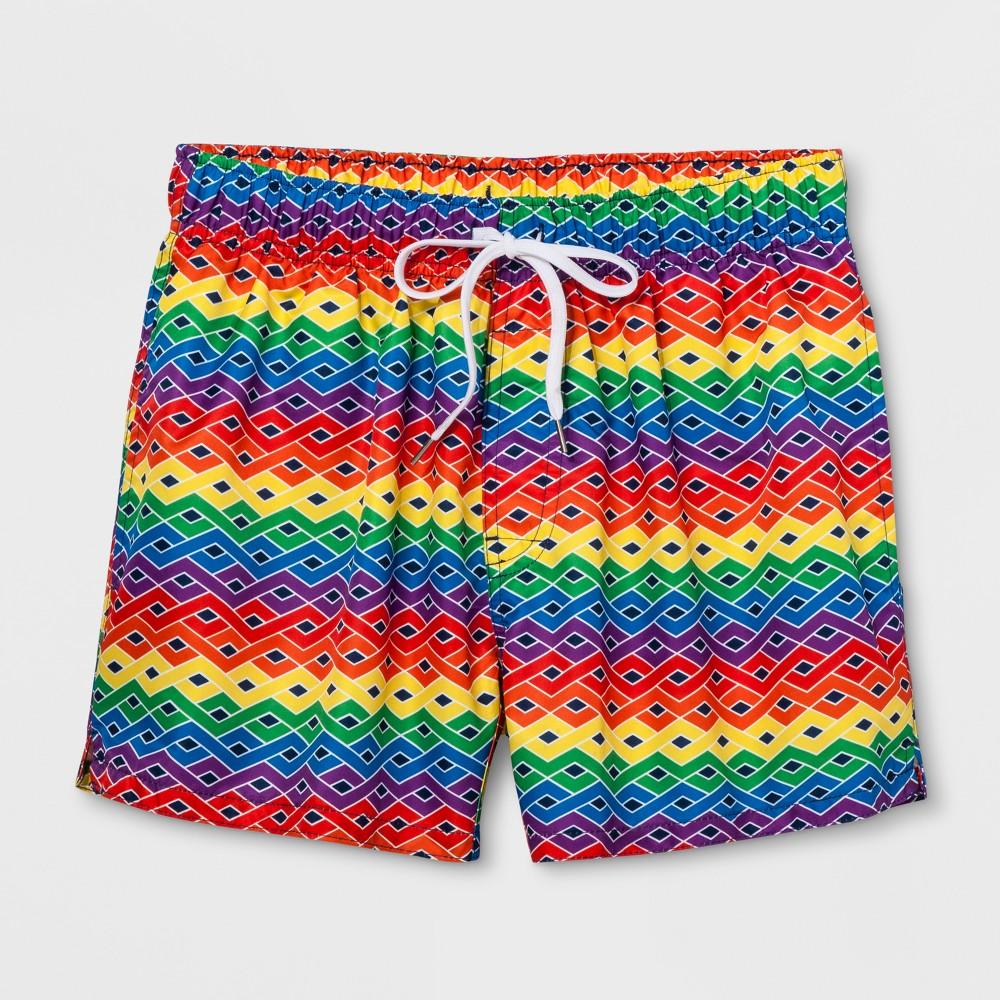 Pride Evolve by 2(X)Ist 4 Woven Swim Shorts - Wave Print S, Multicolored