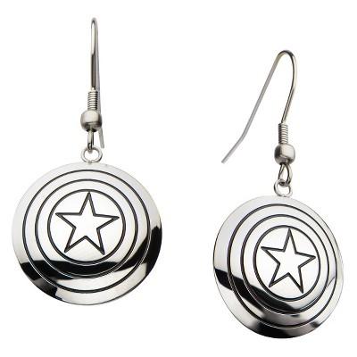Women's Marvel Captain America Shield Logo Stainless Steel Polished Dangle Earrings