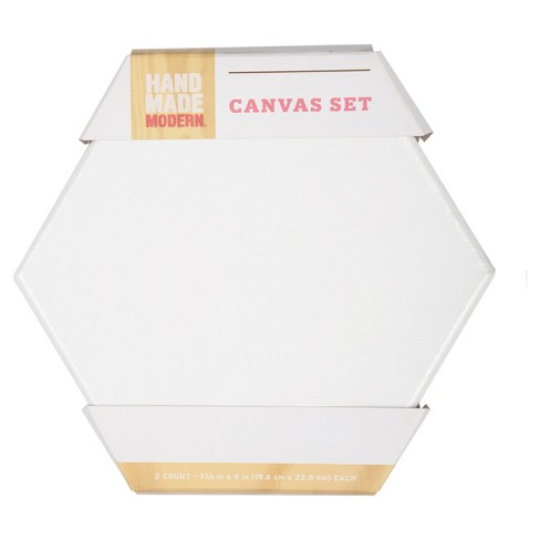 "Hand Made Modern Canvas Set, Hexagon, 2ct, 7.8"" x 9"" - White - image 1 of 3"