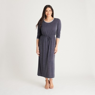 Women's Navy Terry Knit Maxi Dress - Connected Apparel