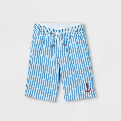 Boys' Seersucker with Anchor Swim Trunks - Cat & Jack™ White