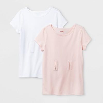 Girls' Adaptive 2pk Short Sleeve Abdominal Access T-Shirt - Cat & Jack™ White/Pink