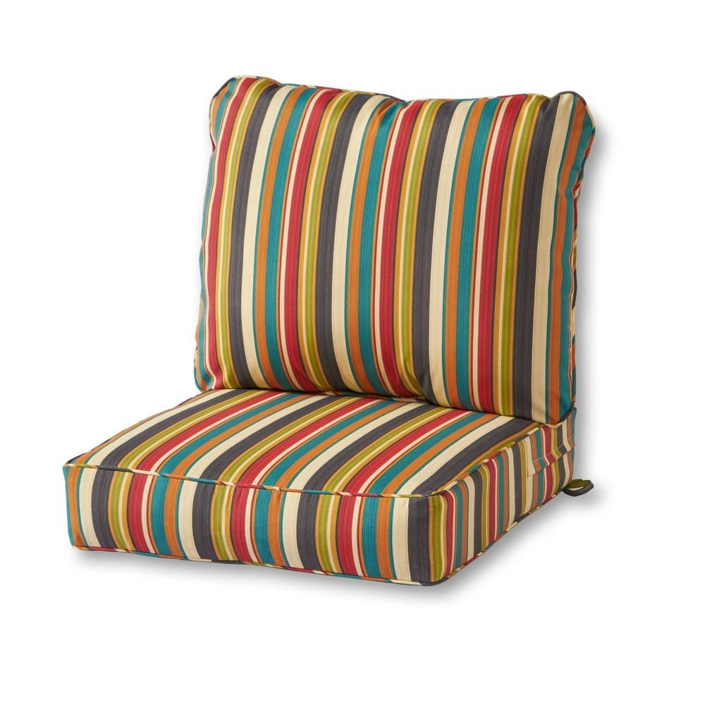 Image of 2pc Outdoor Deep Seat Cushion Set Sunset Stripe - Kensington Garden