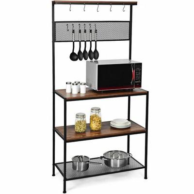 Costway 4-Tier Kitchen Bakers Rack Microwave Oven Stand Industrial w/Hooks & Mesh Panel