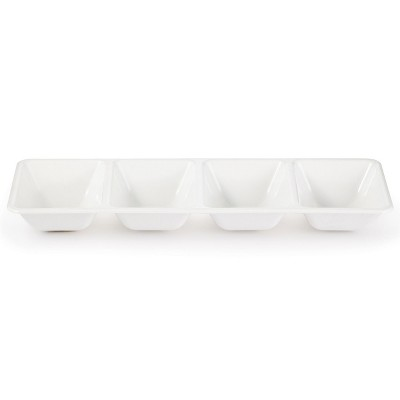 White Plastic Divided Serving Tray
