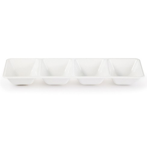 White Plastic Divided Serving Tray - image 1 of 2