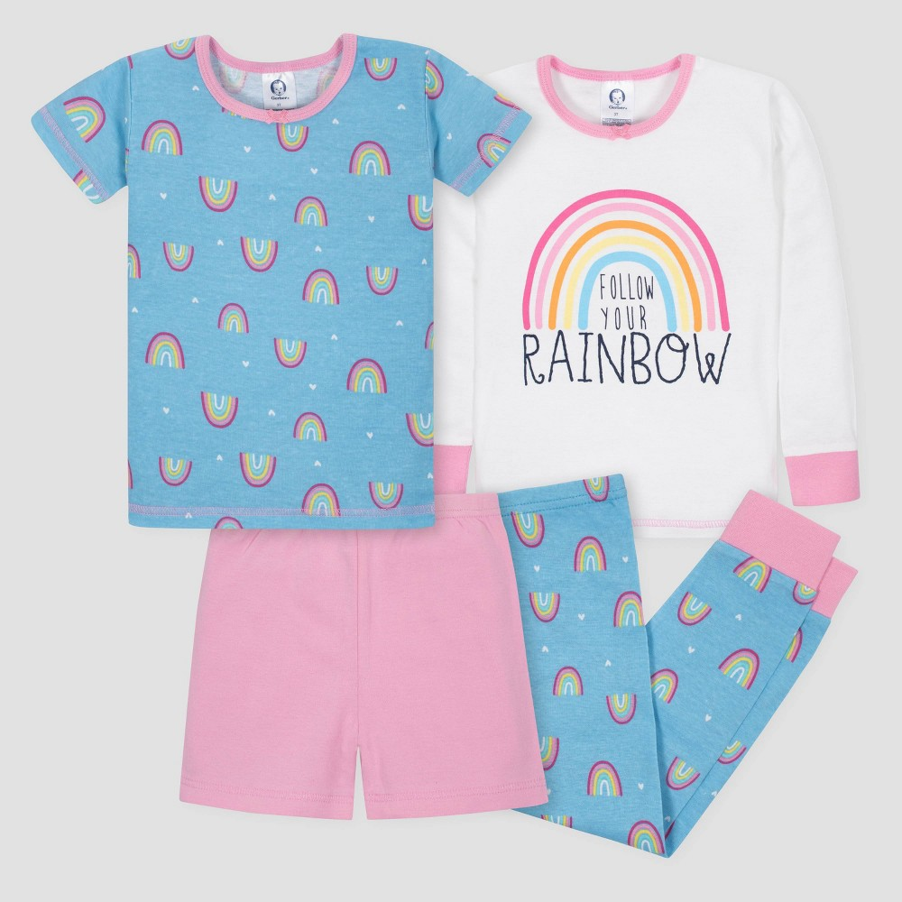 Gerber Toddler Girls' 4pc Rainbow Long Sleeve Pajama Set - White/Blue/Pink 4T