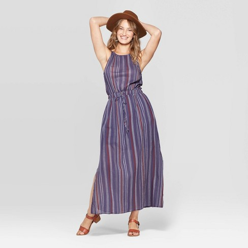 Women s Sleeveless Striped Maxi Dress - Universal Thread™ Navy   Target 888e2ee8b